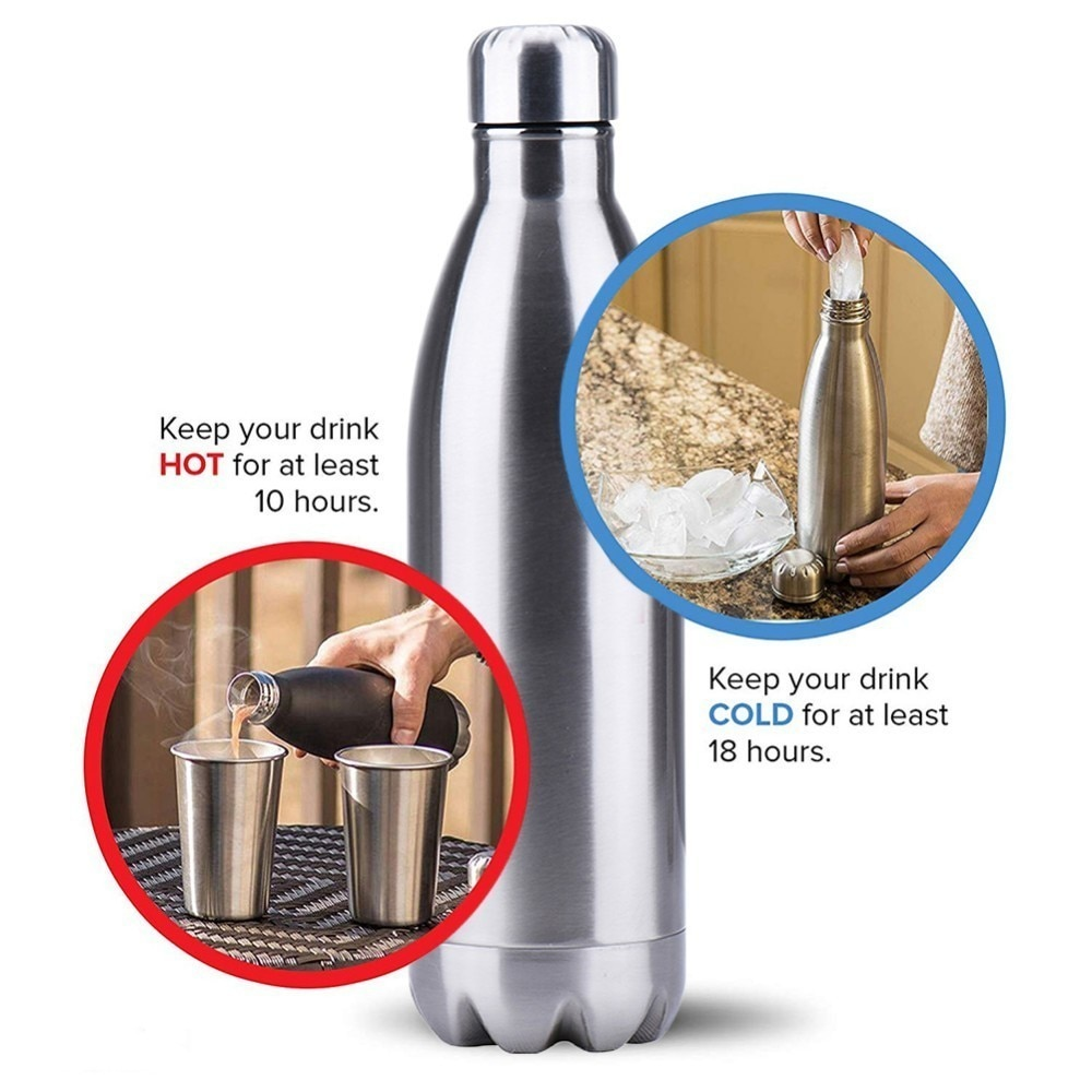 500//750//1000ml Vacuum Insulated Water Bottle Flask Thermal Sport Hot Cold Drinks